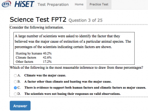 What is on the HiSET test?